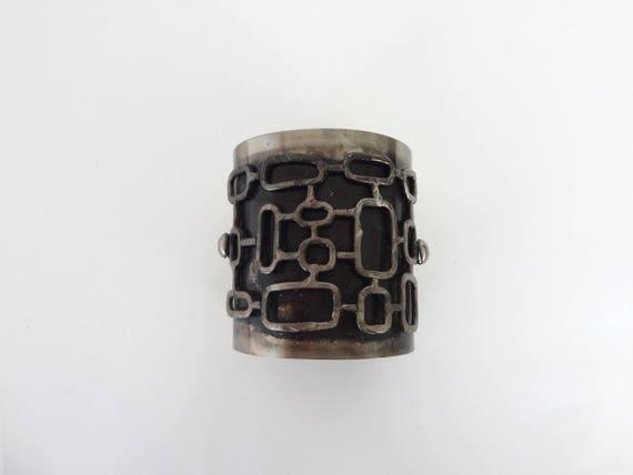 Mid Century Modern Artist Made Steel Cuff Bracelet - image 5