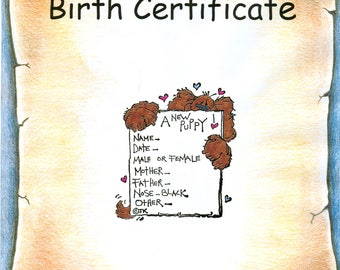 Puppy Dog Birth Certificate OR Notecard - your choice  #20