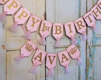Happy 1st Birthday Banner Girls Name With Crowns Optional Embossed Pink And Gold Tulle First Decorations