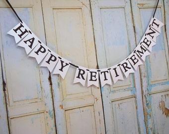 Custom Happy Retirement Banner, Name Optional, Happy Retirement Sign, Retirement Party Decoration