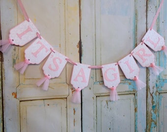 It's A Girl Banner, Pink and White Embossed Banner with Tulle, Baby Shower Banner, Baby Girl Shower Decoration,