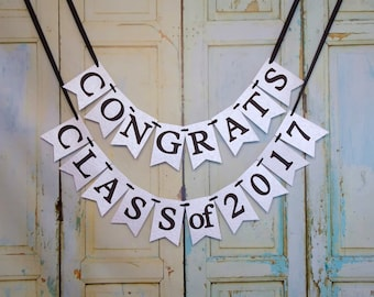 Congrats Class of 2018 Banner, Embossed with Graduation Cap Pattern Black and White Banner Graduation Sign Congratulations Graduation Banner