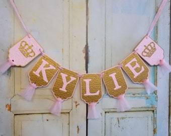 Girl's Name Banner with Crowns, Embossed Pink and Gold Banner, Princess Birthday Banner, Royal Baby Shower Banner, Baby Girl Shower Decor