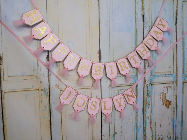 Happy 1st Birthday Banner Embossed Pink And Gold With Tulle Girls Decorations