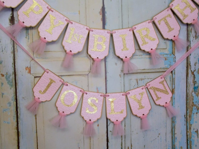 Happy 1st Birthday Banner Embossed Pink And Gold With Tulle Girls Decorations Glitter Sign