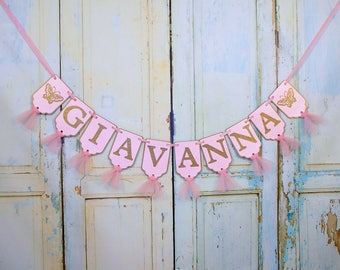 Girls Name Banner with Butterflies, Pink and Gold Banner, Butterfly Birthday Sign, Baby Shower Decoration, Girls Birthday Decoration