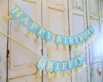 Happy Birthday Banner, Boys Name Banner Optional, Yellow and Blue Banner, Boys 1st Birthday Decoration, Boys First Birthday Sign, Boys Name