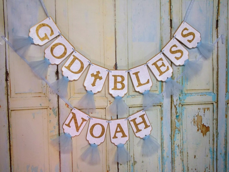 God Bless Banner in Pink and White Embossed Banner with Tulle Christening Decor Girls Baptism Decoration Baptism Banner