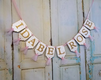 Girl's Name Banner, Cream Pink and Gold Banner, Baby Shower Decoration, Embossed Banner with Tulle, Girls First Birthday Decoration