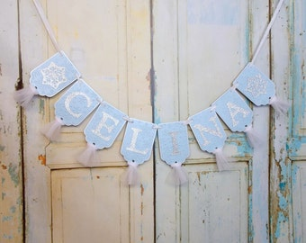 Girl's Name Banner with Snow Flakes, Girl's Birthday Banner, Baby Shower Banner, Birthday Decoration, Winter Wonderland Decoration