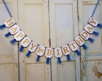 Happy 1st Birthday Banner, Name Banner Optional, White Blue and Gold Banner, Boys First Birthday Banner, Blue and Gold Birthday Decorations