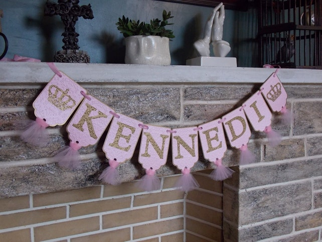 Girls Name Banner With Crowns Pink And Gold Birthday Decoration Princess Party