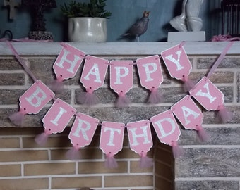 Happy Birthday Banner, Pink and Cream Birthday Decoration, Girls Birthday Sign, Birthday Party Decoration, Happy Birthday Sign
