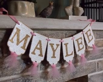 Girls Name Banner, Cream, Pink and Gold Banner with Tulle, Girl's Birthday Banner, Girl Baby Shower Decoration, Girl Nursery Sign,