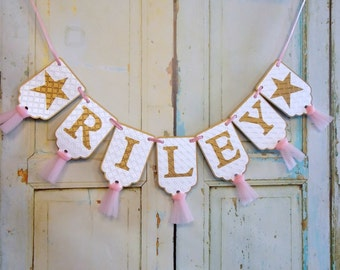 Girl's Name Banner, Pink White and Gold Embossed Banner with Tulle, Stars, Twinkle Twinkle Little Star Birthday, Baby Shower Banner