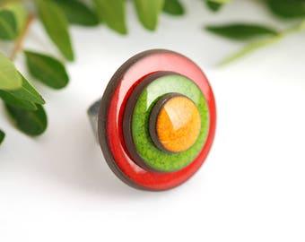 "Adjustable ring ceramic collection ""confetti"" red green orange"