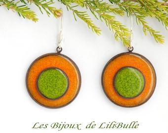 "Silver earrings 925 ceramics - ""confetti"" orange Green"