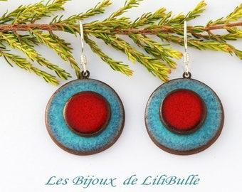 "Silver earrings 925 ceramics - ""confetti"" red sky blue"