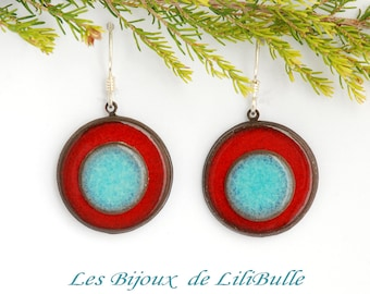 "Silver earrings 925 ceramics - ""confetti"" red blue"