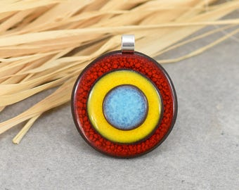 Seventies ceramic pendant and 925 Silver - red/yellow/blue graphic pendant