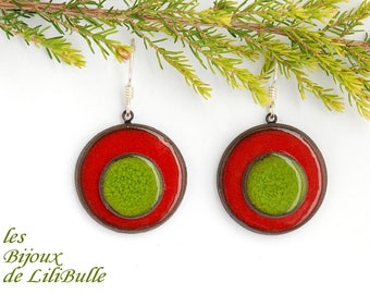 "Silver earrings 925 ceramics - ""confetti"" red green"