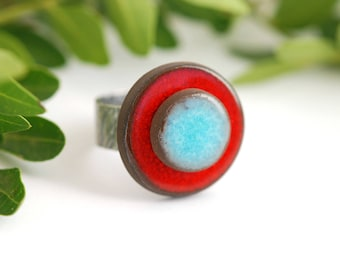 """Adjustable ring ceramic collection """"confetti"""" red blue"""