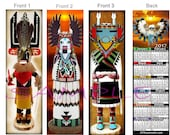 KACHINA Doll 2021 CALENDAR BOOKMARK, You get All 3 (2 Sizes offered)Book Mark Card American Art Apache Dancer Indian Artist Keepsake