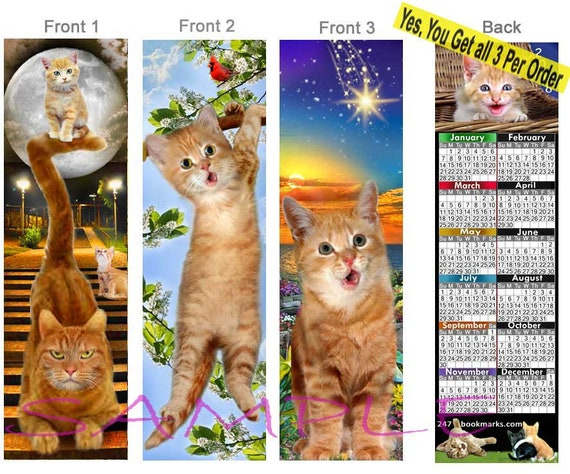 Cat Bookmark 10 Images To Choose From * GINGER CATS by UK artist