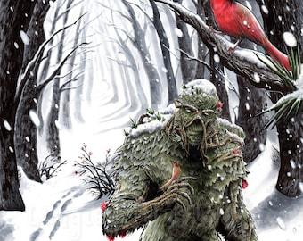 Winter Swamp Thing - SIGNED 11x17 Wall Decor Art Print