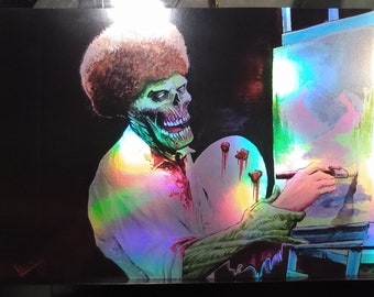 Bob Zombie V2 11x17 LAVA-Holo/Prism Print Horror Zombie Bob Ross Portrait