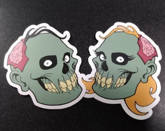 """2- PACK 3"""" Happy Zombie & Zombie Girl Vinyl Stickers"""