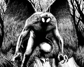 Mothman 11x17 Signed Print Horror Artwork