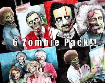 Zombie Print 6 Pack!! Bob Ross, Golden Girls and More! Halloween Decor Wall Art