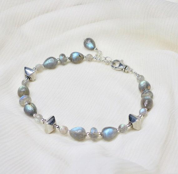 Adjustable 7 Inch Lobster Claw Clasp Genuine Natural Gemstone Labradorite  Sterling Silver  Fine Silver Gemstone Bracelet