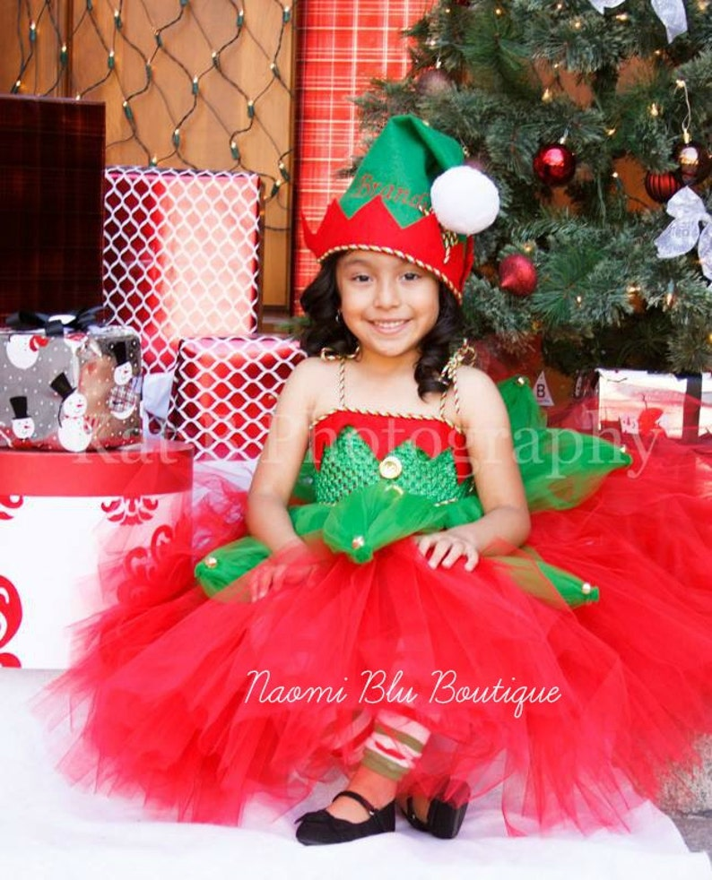 6c7ace6c11478 Christmas Elf. Santa's little helper Tutu Dress and Embroidered Felt Hat.  Great for costume, Holiday photos, mini sessions and more