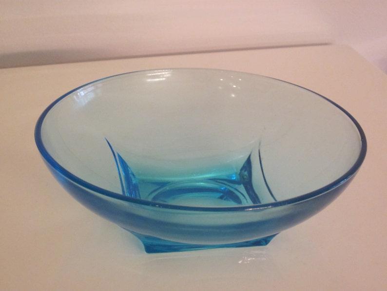 vintage Hazel Atlas turquoise glass bowl 1960s colony pattern capri blue color