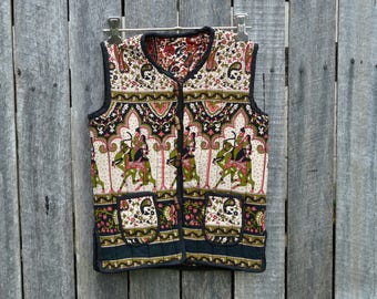 Double sided vest Indian floral camel print quilted girls Indian ethnic boho padded size 8-9-10 waist coat jacket winter warmer