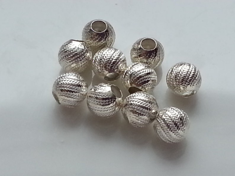 10 x 4 mm Sterling 925 Silver Round Fluted 2 hole Hollow Spacer Beads Corrugated