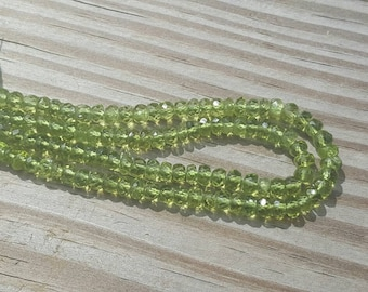 "1 15"" Natural Peridot Faceted 5mm x 3-4mm Rondelles (119 Beads)"