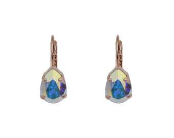 Crystal AB Swarovski Teardrop Earring, Swarovski Bridal Earring, Crystal Teardrop Earring, Crystal AB Teardrop Earring