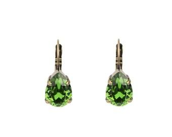 Fern Green Swarovski Teardrop Earrings, Green Swarovski Earring, Green Crystal Earring, Fern Green Crystal Earring, Green Teardrop Earring