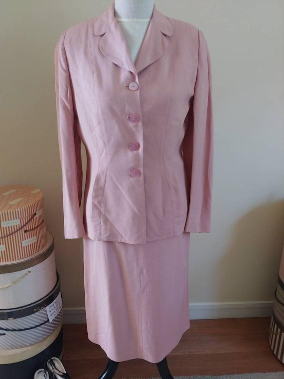 Vintage 1940s/1950s suit, pink linen, summer suit… - image 1