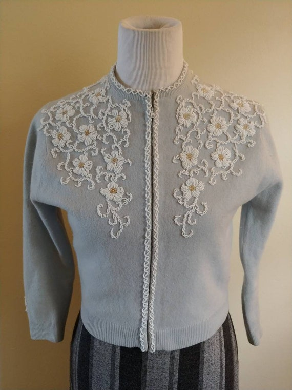 Vintage 1950s powder blue beaded cardigan, small