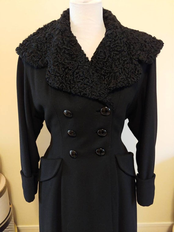 Vintage 1940s princess coat, black wool, Persian l