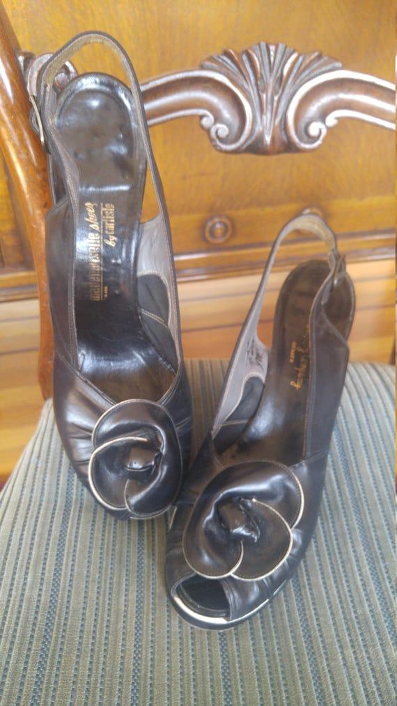 Vintage 1940s platforms, slingback peep toe heels,