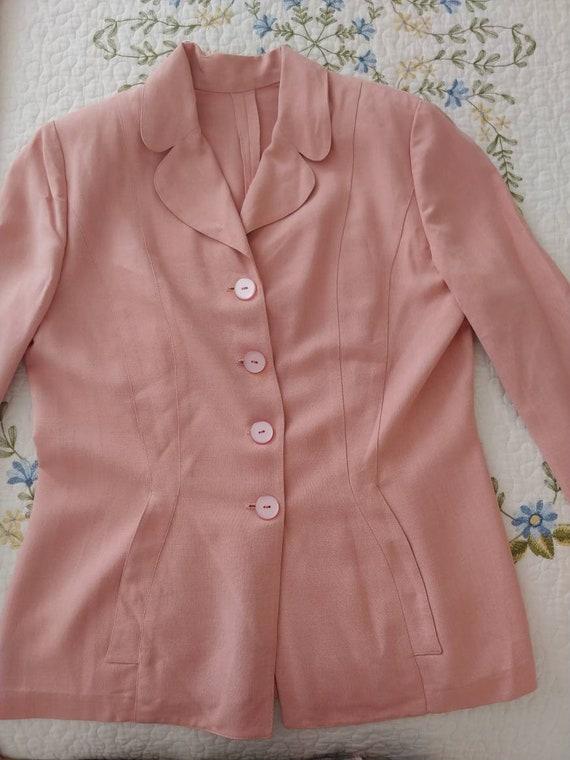 Vintage 1940s/1950s suit, pink linen, summer suit… - image 2