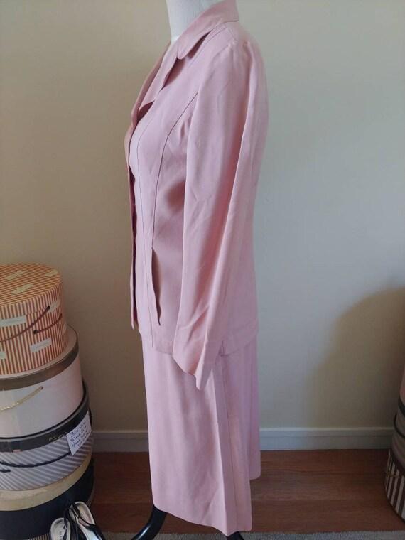 Vintage 1940s/1950s suit, pink linen, summer suit… - image 3