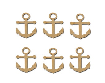 Anchor Shape Unfinished Wood Cutouts Wooden Anchors 6 Pieces