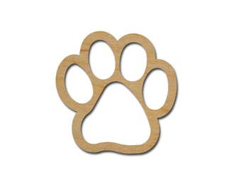 Paw Print Shape Unfinished Wood Craft Cutout Variety of Sizes - Artistic Craft Supply