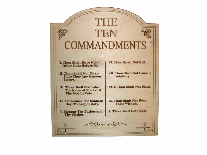 The Ten Commandments Laser Engraved Wood Plaque Artistic Craft image 0